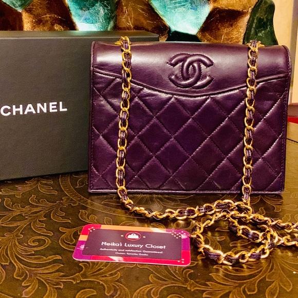35337f1c 💜 rare timeless vintage Chanel flap purple small